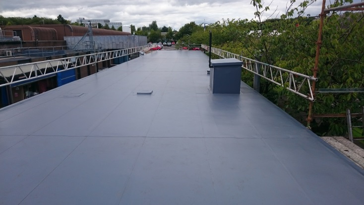Newly installed single ply roof system